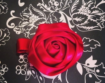 Red Rosette Hair Clip - Red Clippie - Satin Rosette Clip - Flower Clip