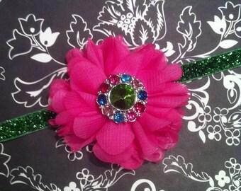 Hot Pink Headband Green Rhinestone Glitter Baby Headband Flower Headband