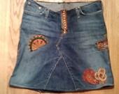 handmade upcycled boho embellished hippie beaded denim skirt festival skirt bohemian skirt
