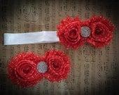 red w/ white polk a dots shabby flower head band.
