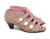 Now on Sale,  20% Discount!  Women sandals, high heel, nude leather, Electra model - LUCCAbyNoaLuria