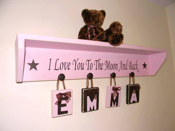Pink Brown Baby Toddler Girl Nursery Decor Room Decor Child Shelf With Phrase I