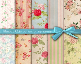 "Shabby chic digital paper : ""SHABBY CHIC COLLECTION"" vintage shabby chic digital paper with roses on old background, rose digital paper"