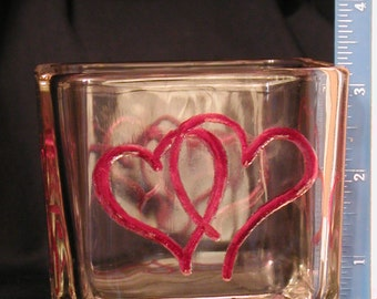4 Sided , Paired Heart Square Candle Holder, 4 different designs, one on each side
