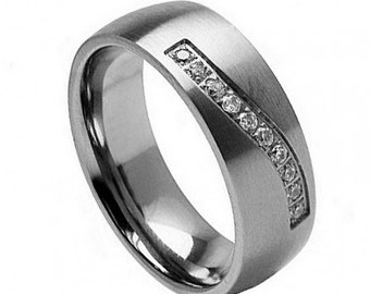 "Titanium Wedding Band, "" FREE ENGRAVING "" , MMTi280 Titanium engagement ring"