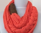 25% OFF SALE - Burnt Coral Red Loop Scarf - Infinity Jersey Scarf - Partially braided Circle Scarf - Scarf Nekclace