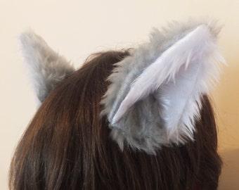 Cosplay Furry Grey Silver Wolf Fox Ears on Hair Clips Halloween Costume Festival Fursuit