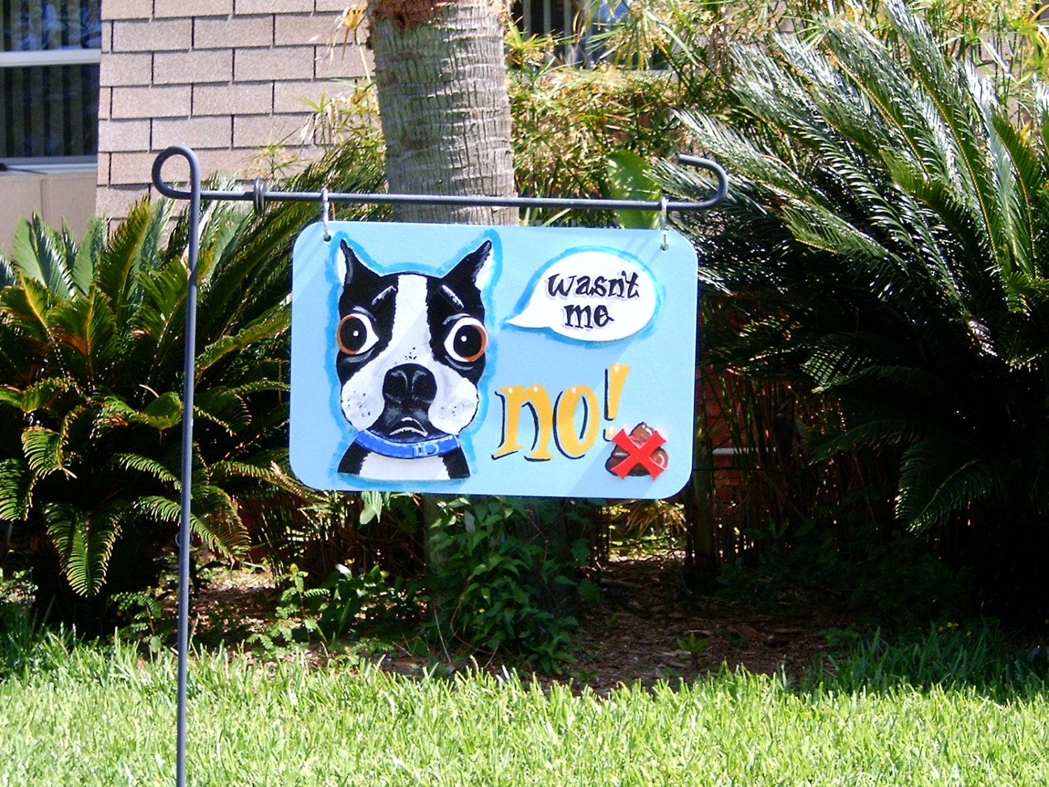 Decorative no poop yard signs by nesteggartdesigns on etsy for Outdoor decorative signs