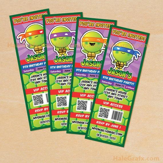 Diy Teenage Mutant Ninja Turtles Invitations