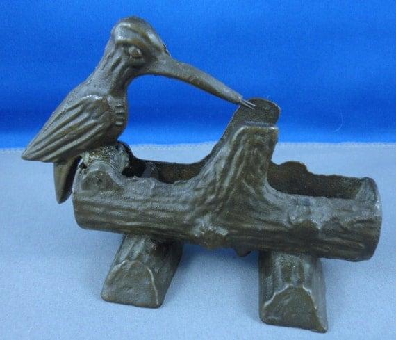 Cast Metal Woodpecker On Log Toothpick Or Match Dispenser
