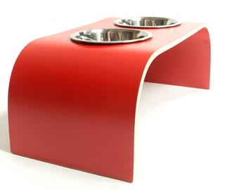 Red Raised Dog Feeder