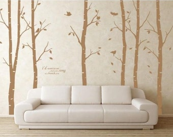 birch trees decals:wall decals, nature wall decals, vinyl wall decal, nature wall decal stickers, birch tree, nursery wall stickers-DK021