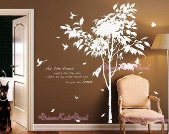 Tree vinyl wall Decal Wall Sticker tree decal Vinyl decal-Loves leaving Tree-wall art-DK073