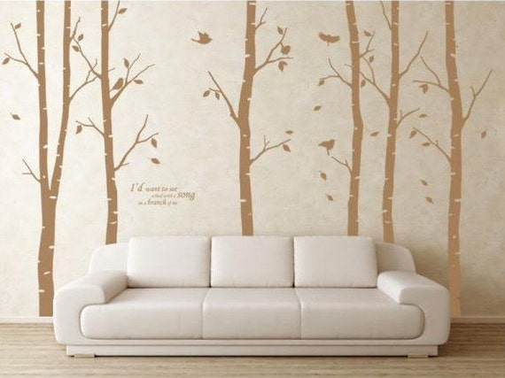 Birch trees decals wall decals nature wall decals vinyl wall for Birch trees wall mural