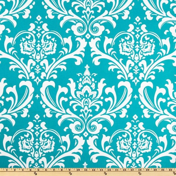Turquoise Damask Home Decor Fabric by the Yard by FabricSecret