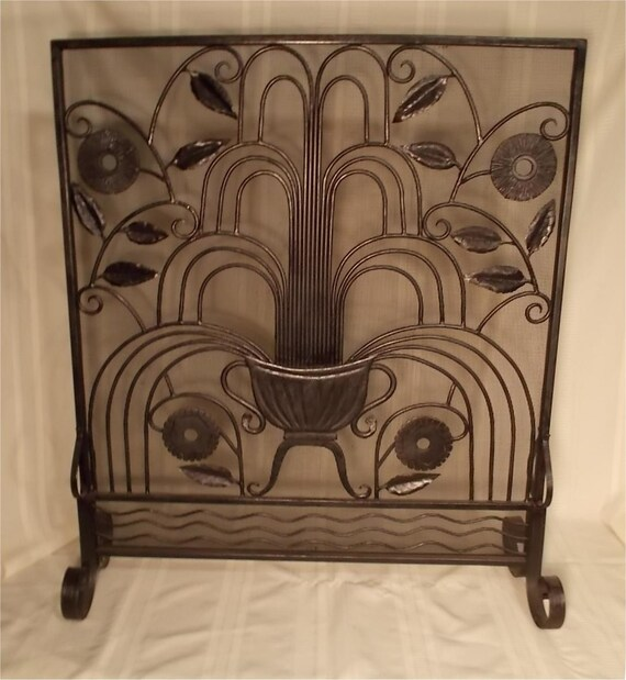 Items Similar To Custom Made Hand Wrought Iron Fireplace Screen Urn And Fountain On Etsy