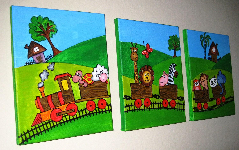 Set of 3 original handmade nursery painting animal safari for Canvas painting for kids room