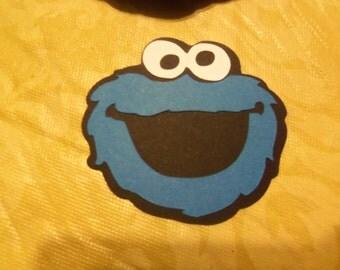 "25 - 2"" Cookie Monster  Die Cut's - Birthday- Party -Baby Shower"