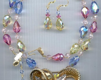 Fabulous centerpiece necklace and earring set - vintage Swarovski crystals with re-purposed Francois pendant