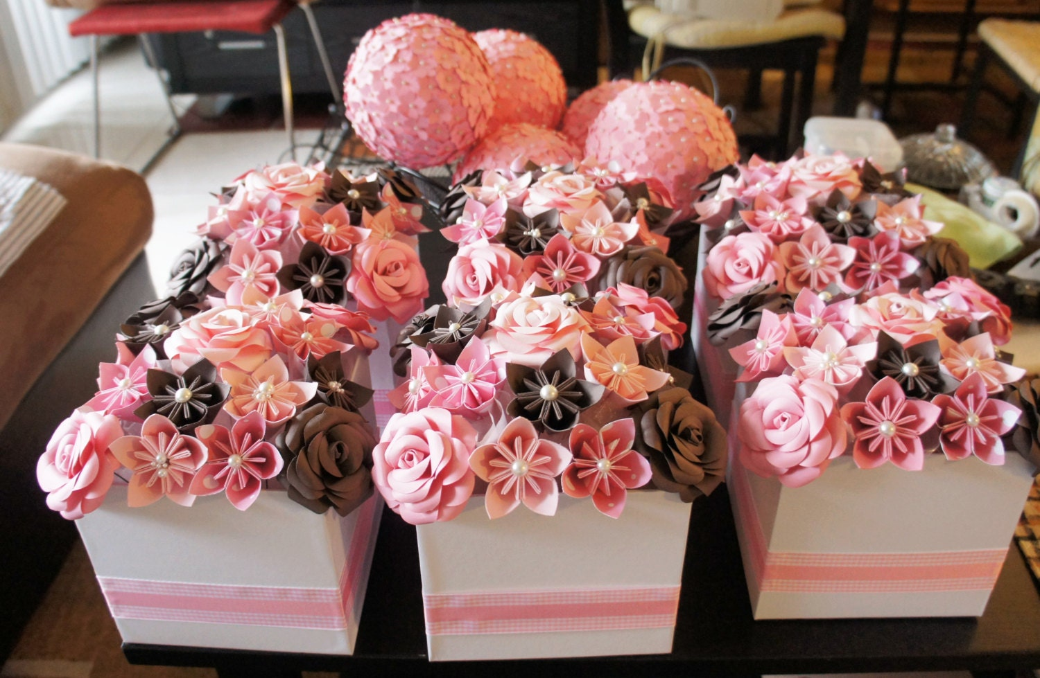 Baby shower centerpiece pink brown juicy couture inspired
