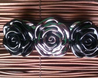 Gunmetal and Black Rose Bracelet