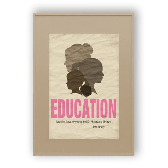 Items similar to Decorative Education Quote Poster - Female ...