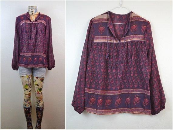 70s vtg DEADSTOCK sheer gauze hippie INDIA boho festival ETHNIC gypsy blouse
