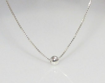 Tiny Sterling Silver Dot Necklace