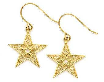 14k gold Filigree Star Hook Earrings.