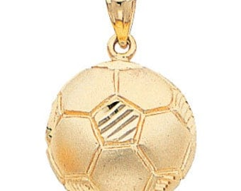 14kt yellow gold soccer ball pendant
