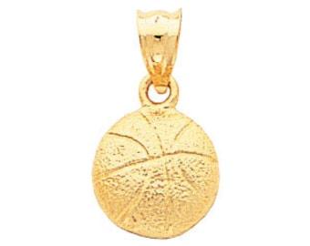 14kt yellow gold basketball pendant