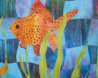 "Art Quilt - ""Goldfish"""