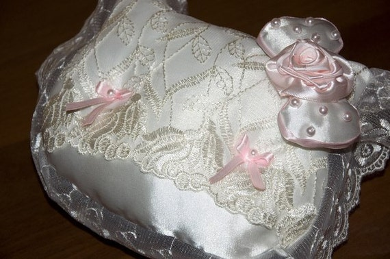 wedding ring bearer pillow white ivory lace pink ring bearer pillow hello kitty - Hello Kitty Wedding Ring