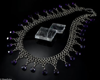 """Chain-maille silver collier """"Amethyst night"""""""