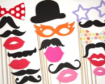 20 PhotoBooth Props, Mustaches, Lips, Wedding Photo Booth, Props on a Stick- J