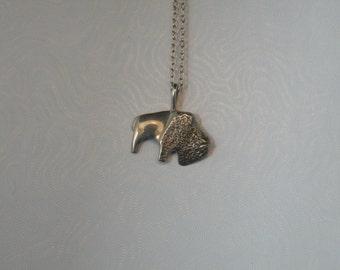Sterling Silver Bison/Buffalo Lg 1/2 body Pendant