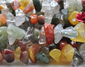 35 inches of Natural mixed color stone smooth  chips beads in 5-10mm