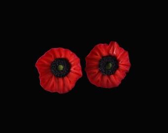 Red Poppy Mini Stud Earrings