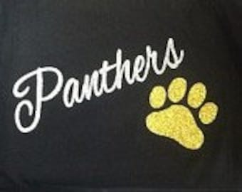 Custom Panthers glitter fitted t-shirt