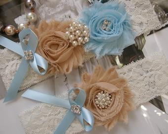 Something Blue / Wedding Garters / Lace Garter / Bridal Garter Set / Tan / Light Blue / Vintage Inspired