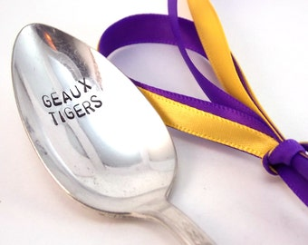 Geaux Tigers Spoon - gift under 10, LSU Tigers, graduation gift, football spoon, tailgating spoon