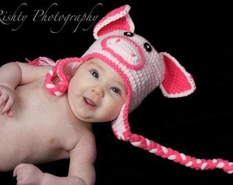 Pink Piggie Baby Newborn Hat Beanie Photo Prop