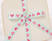"5/8"" Tiffany Blue With Pink Hearts Grosgrain Ribbon, Printed Grosgrain Ribbon"
