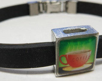 Coffee Coffee Link With Choice Of Colored Band Charm Bracelet