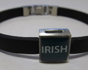 Ireland Green Irish Pride Link With Choice Of Colored Band Charm Bracelet