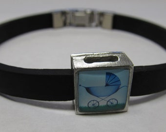 Celebration Baby Buggy Blue Link With Choice Of Colored Band Charm Bracelet