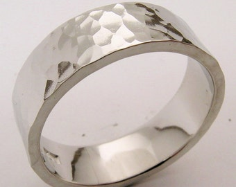 Hand Made and Hammer Forged & Textured 10% Iridium Platinum Mans Wedding Band