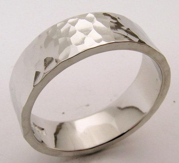 Hand Made And Hammer Forged Textured 10 Iridium Platinum