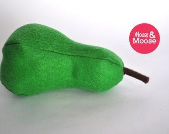 Eco Friendly 100% wool felt pretend Pear.  Felt food for play kitchens and pretend play. Wool felt play food, felt pear.