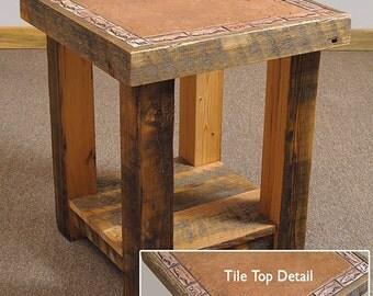 Reclaimed barn wood Tile End Table